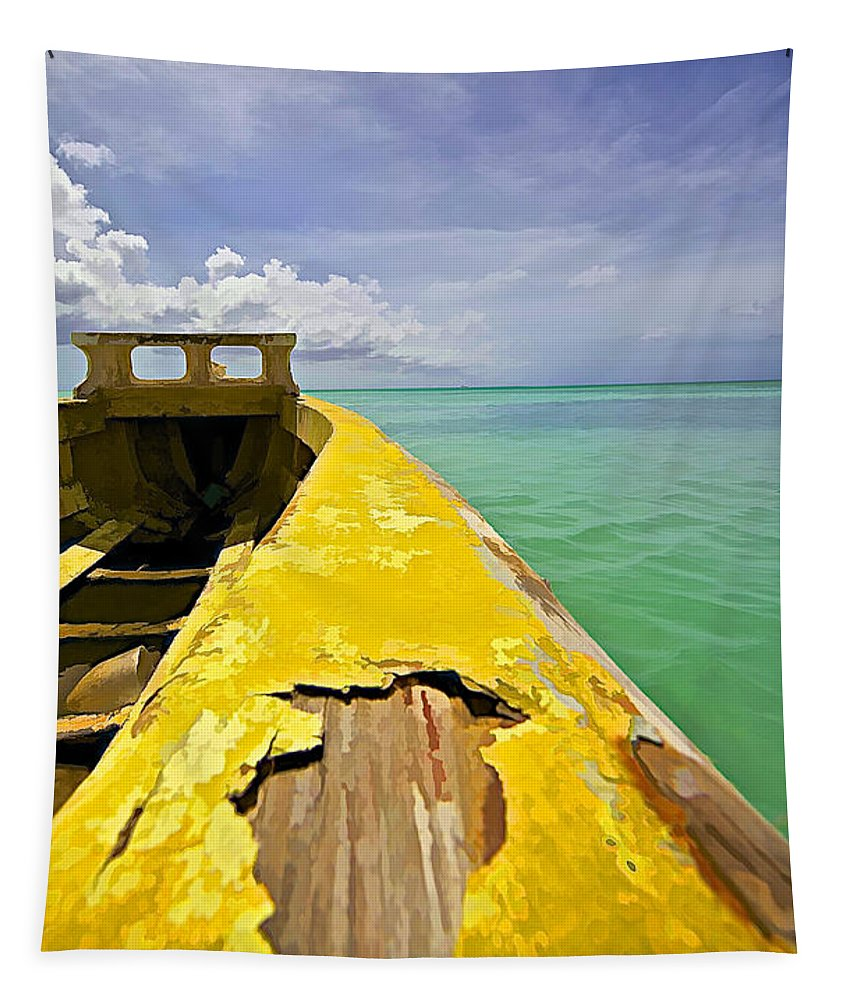 Abandon Tapestry featuring the photograph Worn Yellow Fishing Boat of Aruba by David Letts