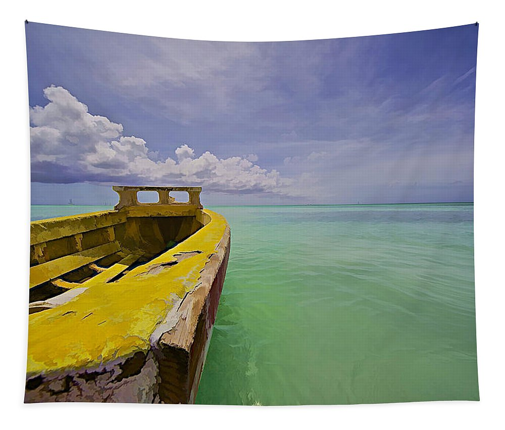 Abandon Tapestry featuring the photograph Worn Yellow Fishing Boat Of Aruba II by David Letts