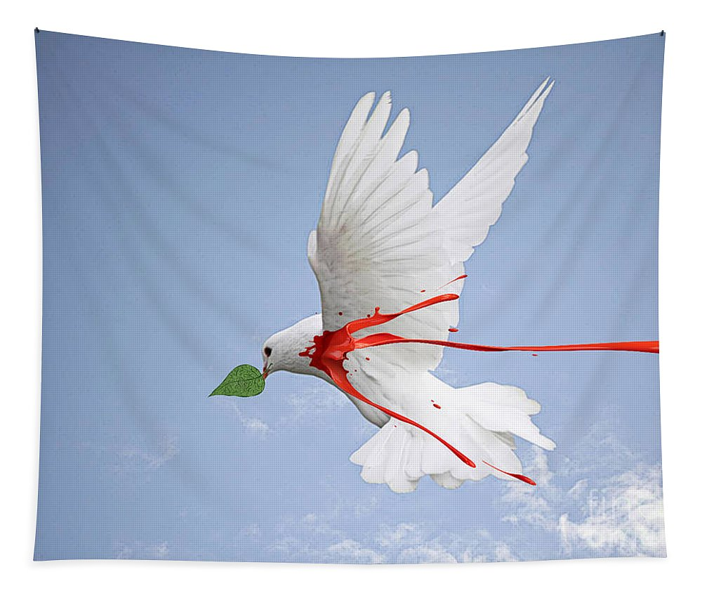Wounded Tapestry featuring the digital art Wounded Peace 2 by Ben Yassa