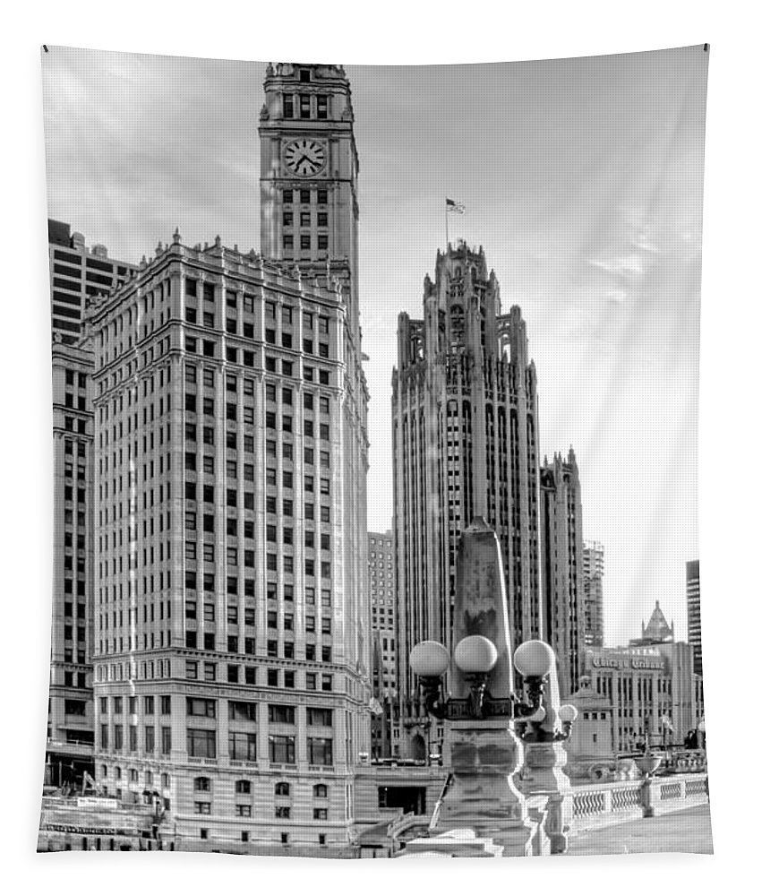 Architecture Tapestry featuring the photograph Wrigley And Tribune by Scott Norris
