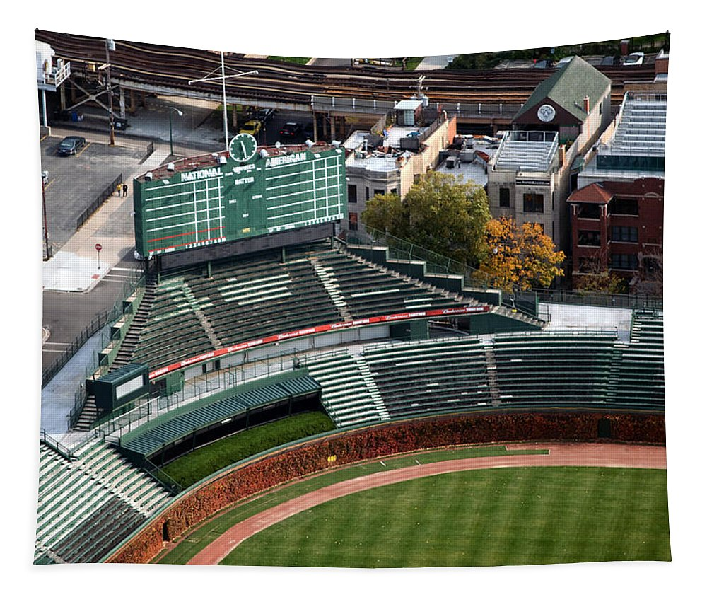 Chicago Cubs Tapestry featuring the photograph Wrigley Field Chicago Sports 04 by Thomas Woolworth