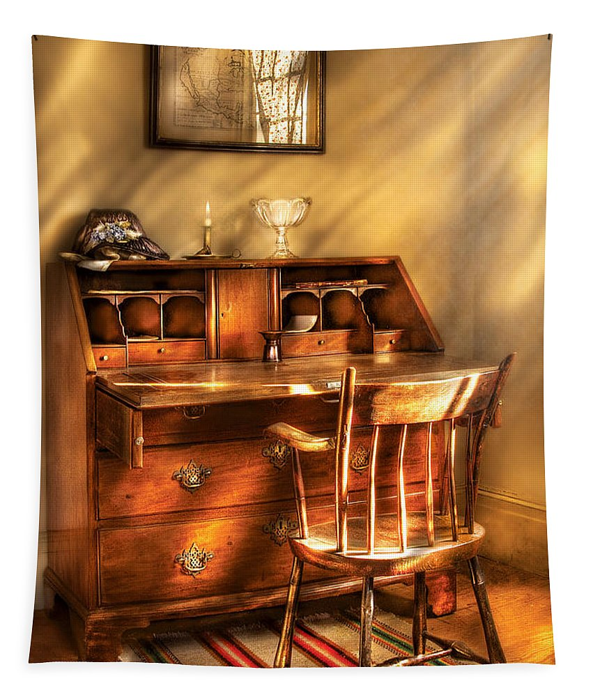 Savad Tapestry featuring the photograph Writer - A Chair And A Desk by Mike Savad