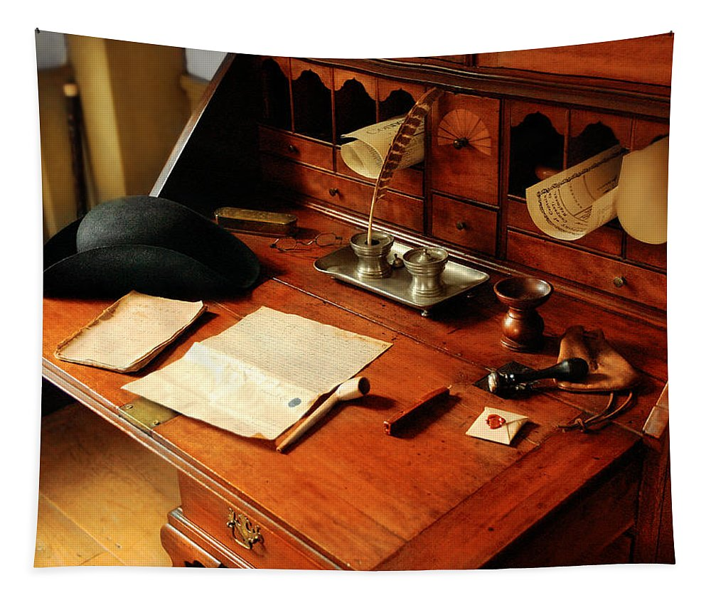 Savad Tapestry featuring the photograph Writer - The Desk Of A Gentleman by Mike Savad