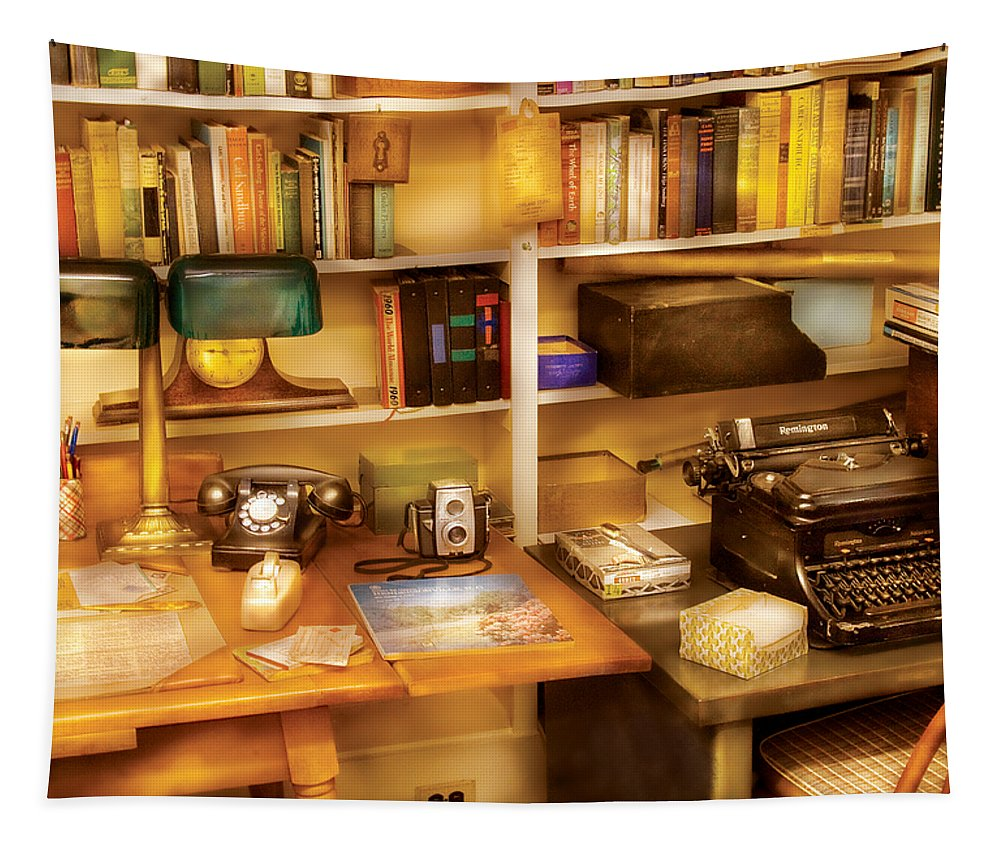 Savad Tapestry featuring the photograph Writer - The Desk Of A Writer by Mike Savad