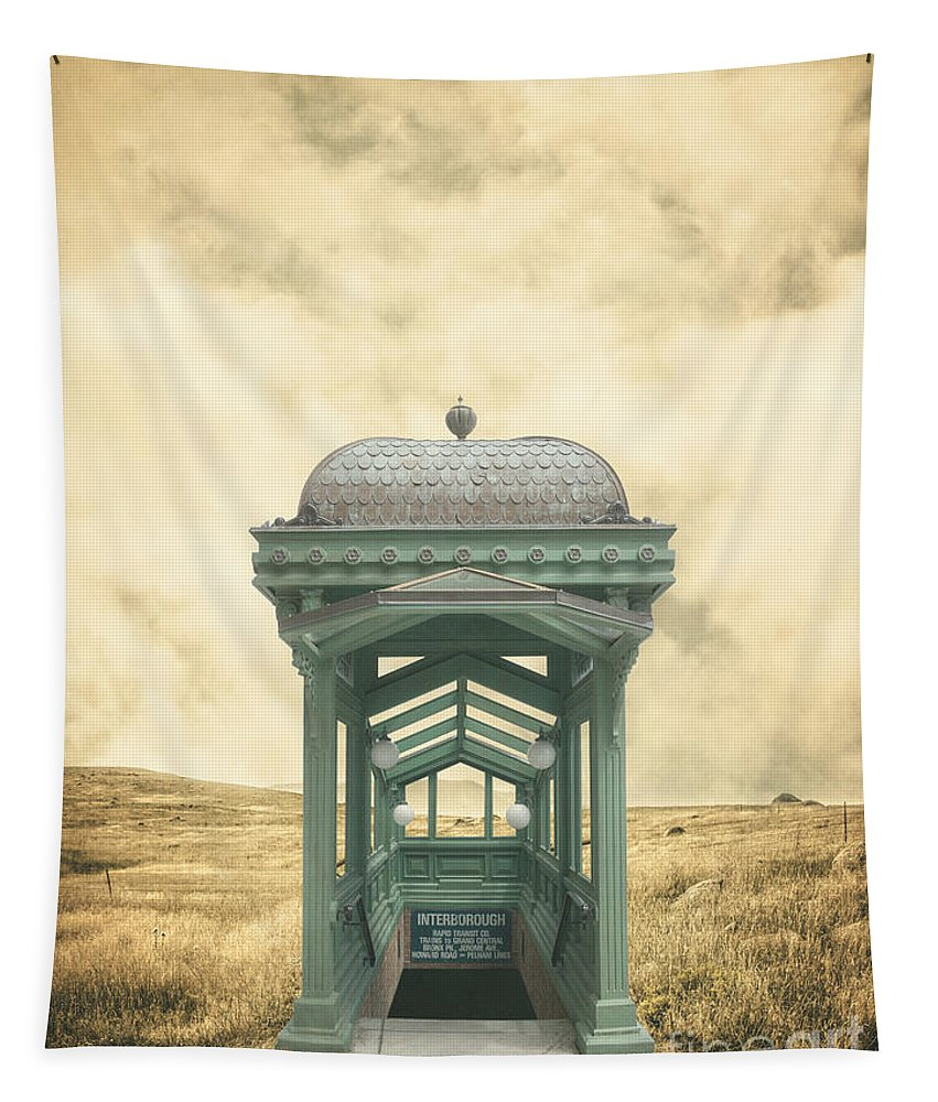 Ranch Tapestry featuring the photograph Wrong Train Right Station by Edward Fielding