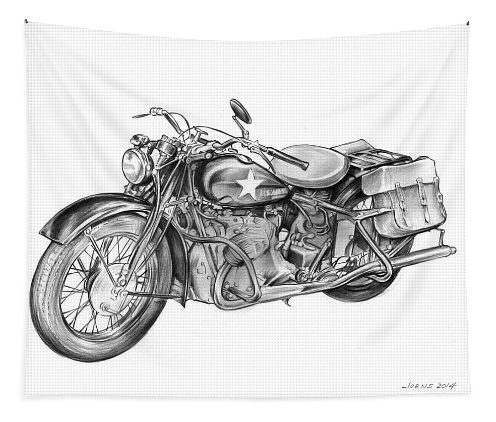 Ww2 Tapestry featuring the drawing Ww2 Military Motorcycle by Greg Joens