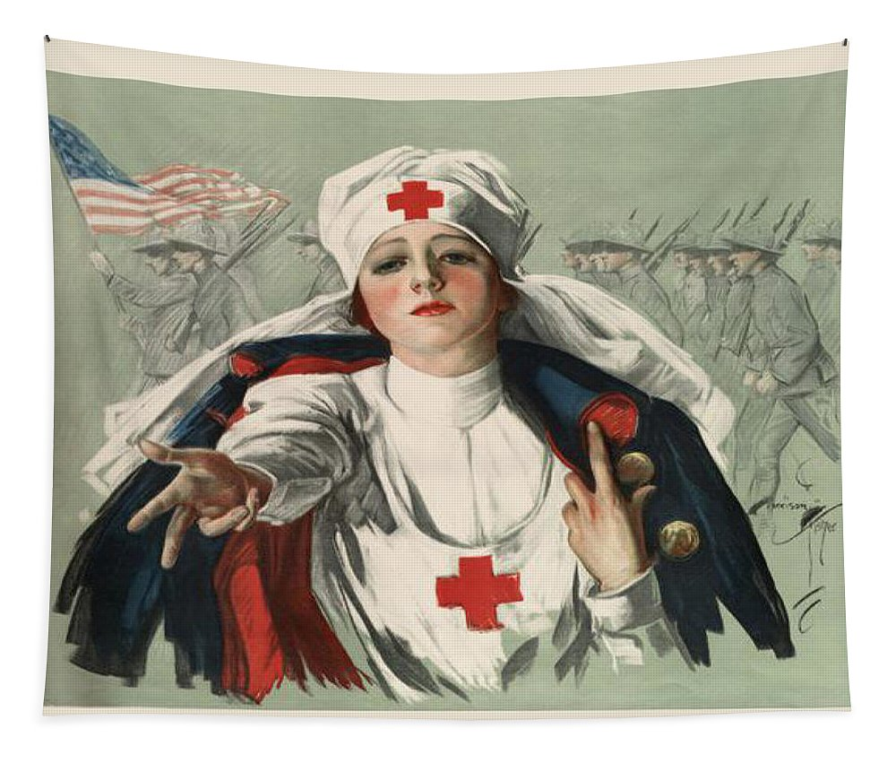 Ww2 Tapestry featuring the digital art WW2 Red Cross by Georgia Fowler
