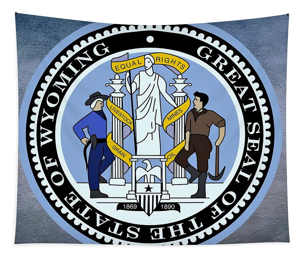 Wyoming Tapestry featuring the digital art Wyoming State Seal by Movie Poster Prints