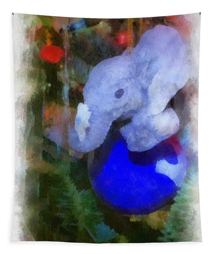 Elephant Tapestry featuring the photograph Xmas Elephant Ornament Photo Art 02 by Thomas Woolworth