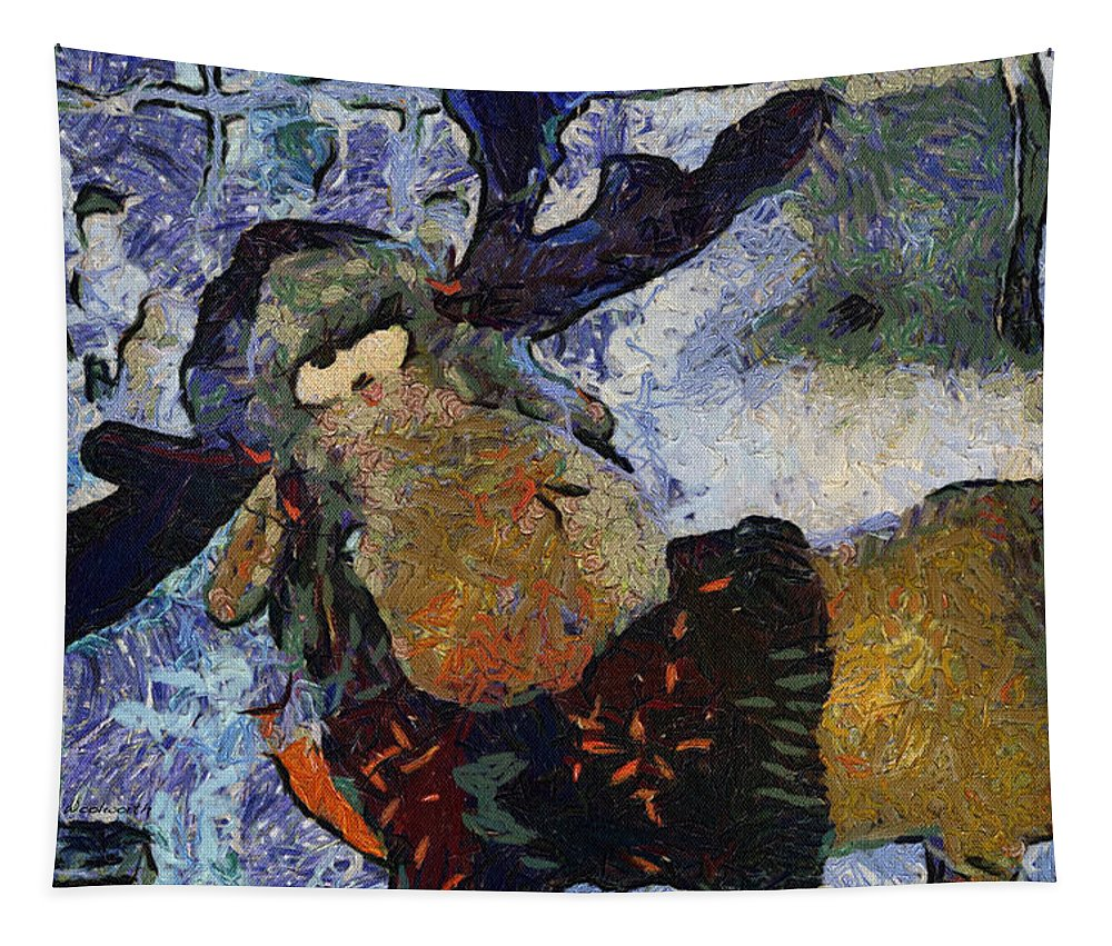 Moose Tapestry featuring the photograph Xmas Moose Photo Art by Thomas Woolworth