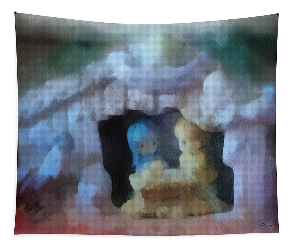 Xmas Tapestry featuring the photograph Xmas Nativity 01 Photo Art by Thomas Woolworth