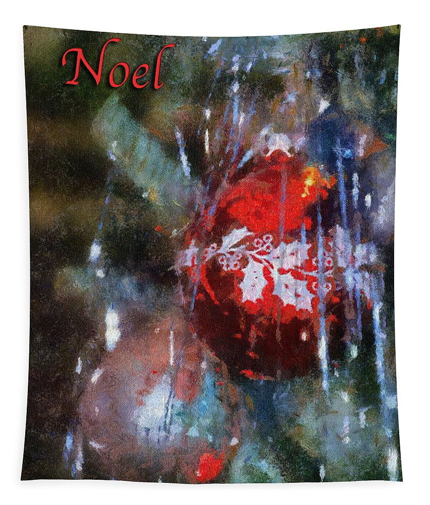 Christmas Tapestry featuring the photograph Xmas Ornament Noel Photo Art 02 by Thomas Woolworth