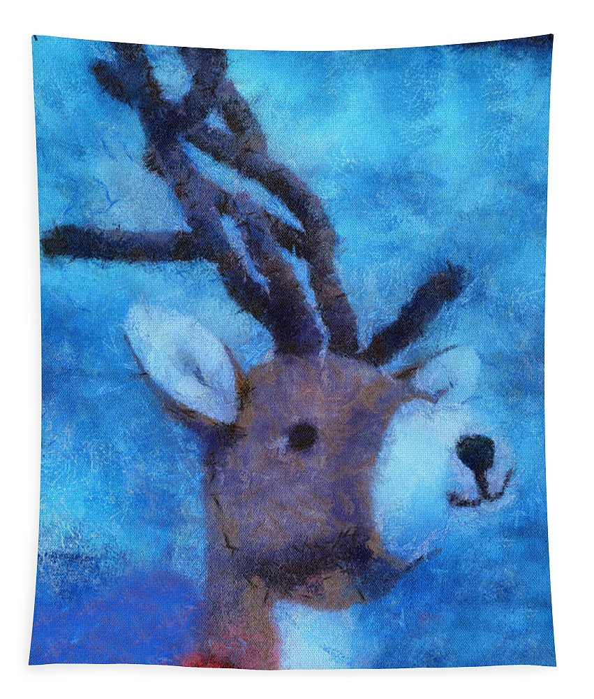 Xmas Tapestry featuring the photograph Xmas Reindeer 01 Photo Art by Thomas Woolworth