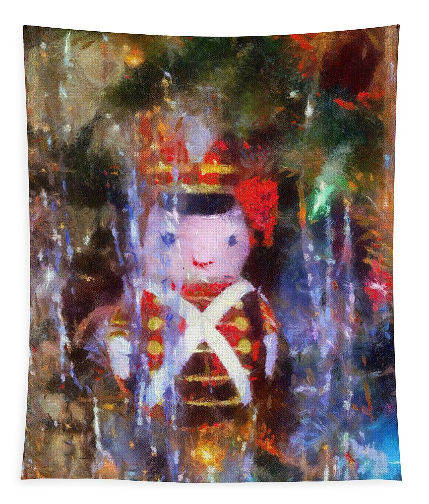 Christmas Tapestry featuring the photograph Xmas Soldier Ornament Photo Art 02 by Thomas Woolworth