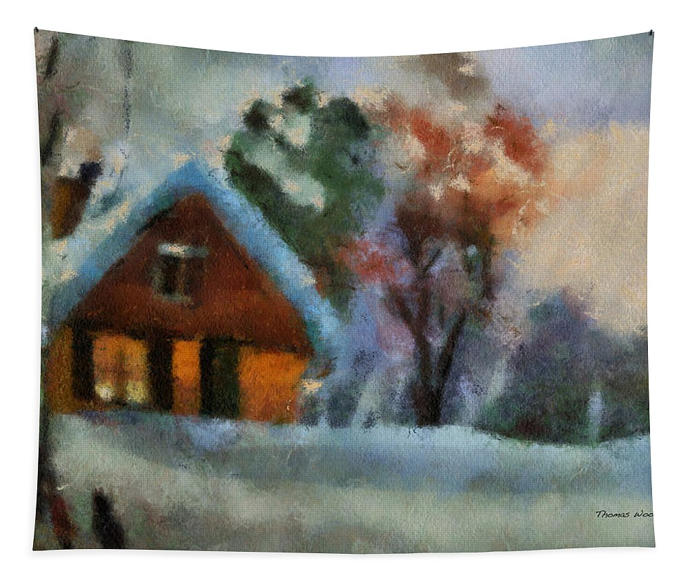 Wood Tapestry featuring the photograph Xmas Winter Cottage 03 Photo Art by Thomas Woolworth