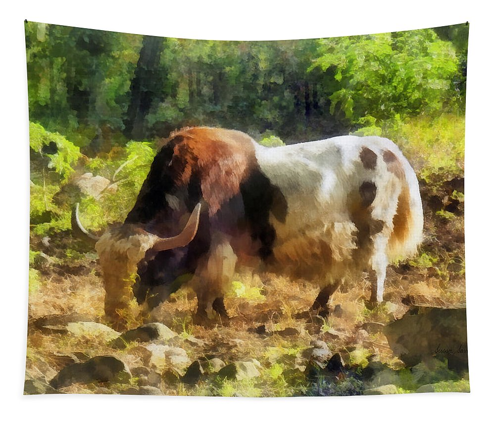 Yak Tapestry featuring the photograph Yak Having A Snack by Susan Savad