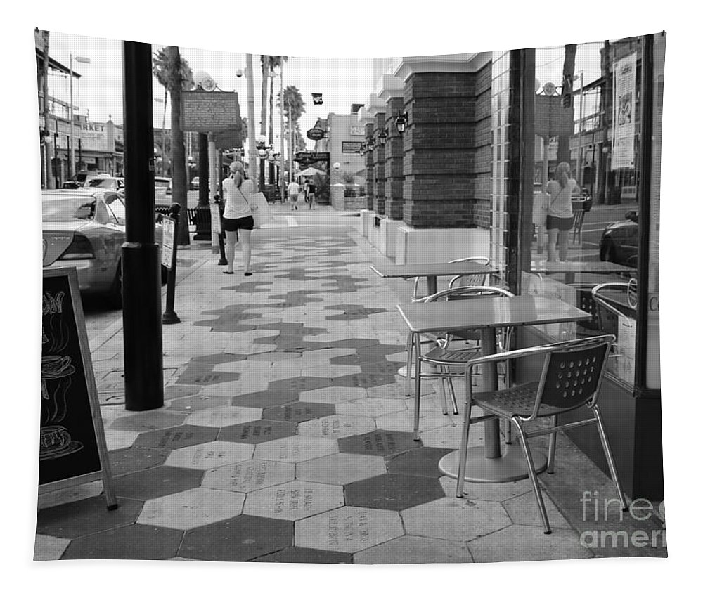 Ybor City Tapestry featuring the photograph Ybor City Sidewalk - Black And White by Carol Groenen