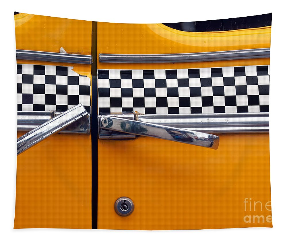 Checkerboard Tapestry featuring the photograph Yellow Cab - 3 by Nikolyn McDonald