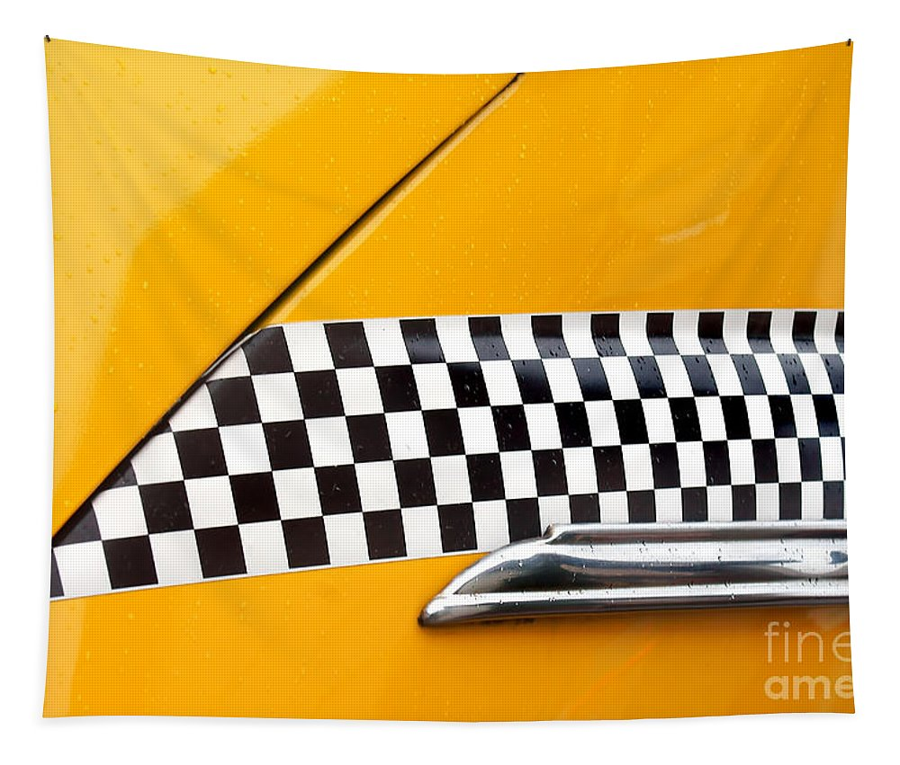 Checkerboard Tapestry featuring the photograph Yellow Cab - 4 by Nikolyn McDonald