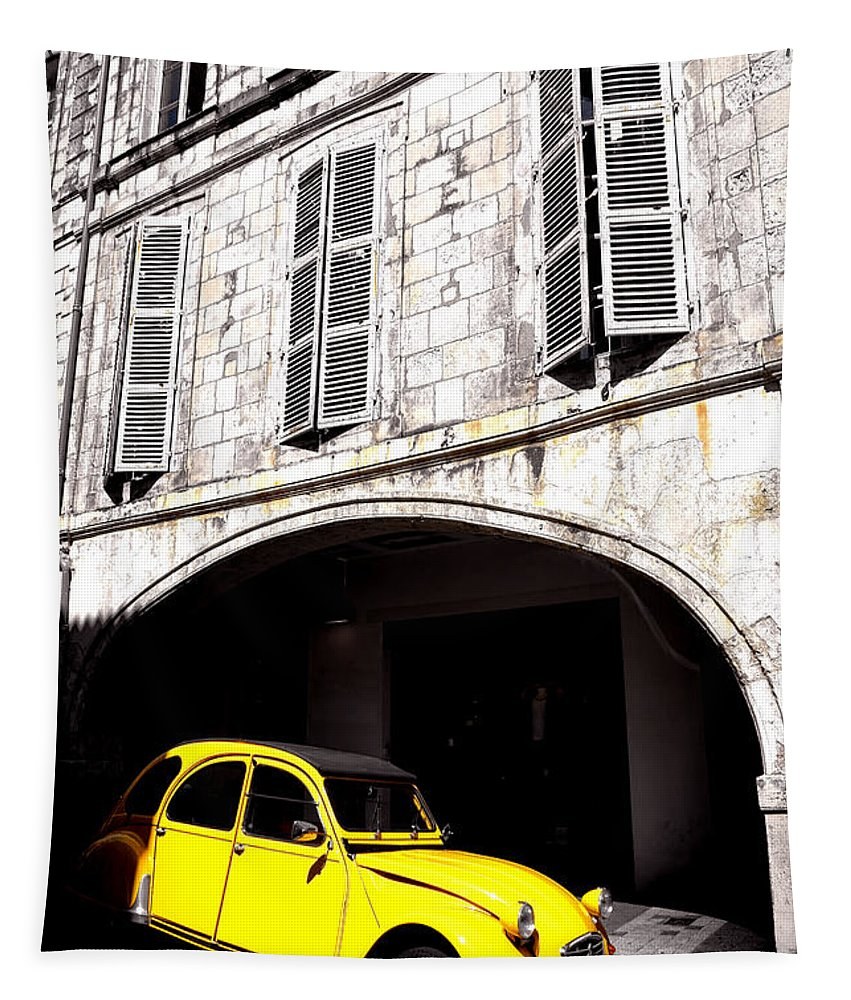 Citroen Tapestry featuring the photograph Yellow Deux Chevaux In Shadow by Olivier Le Queinec