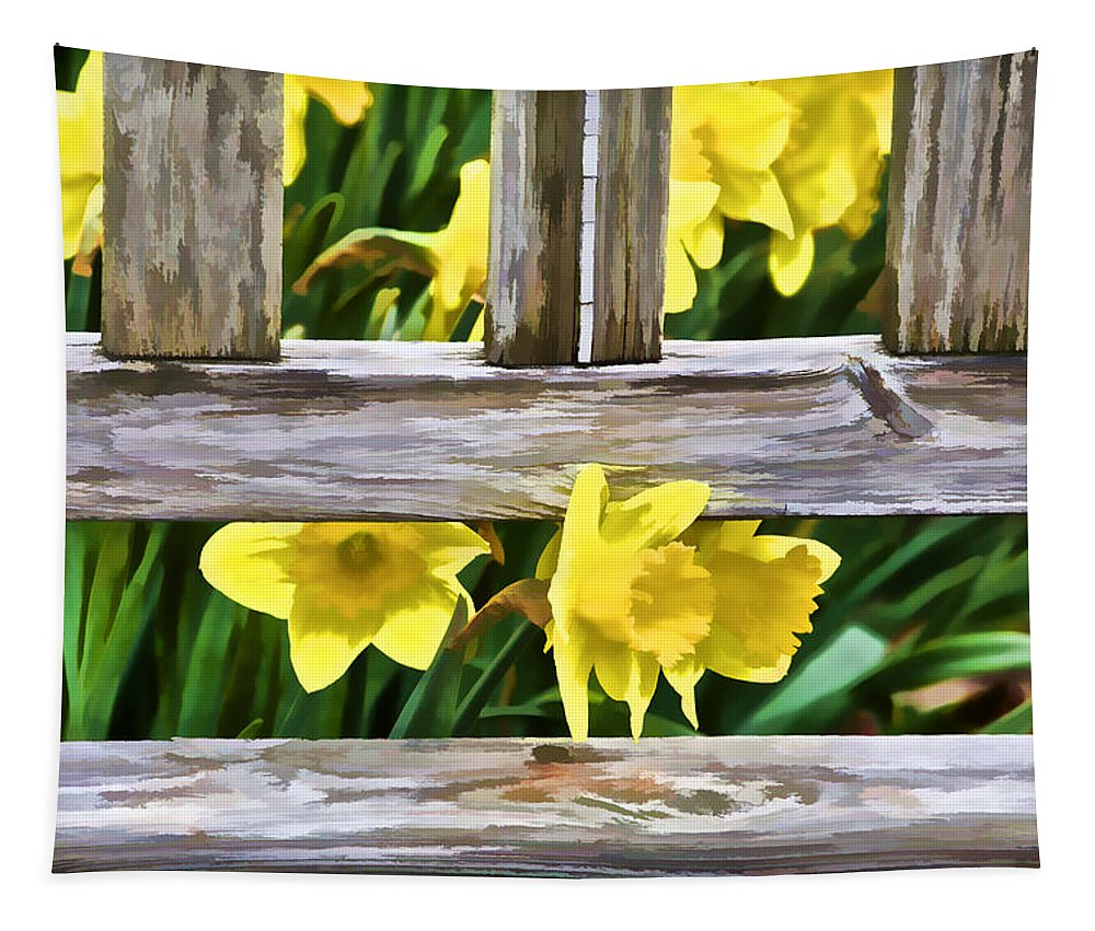 Art Tapestry featuring the photograph Yellow Flowers By The Bench by David Letts