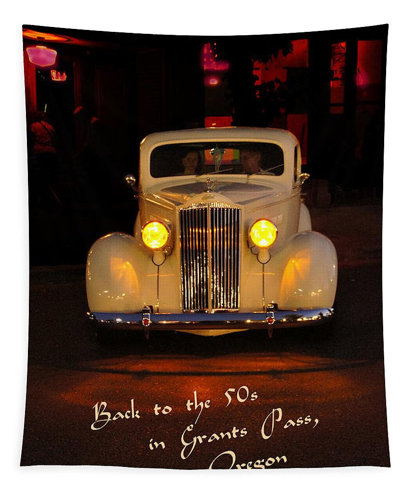Back To The 50s Tapestry featuring the photograph Yellow Lights At Celebration by Mick Anderson