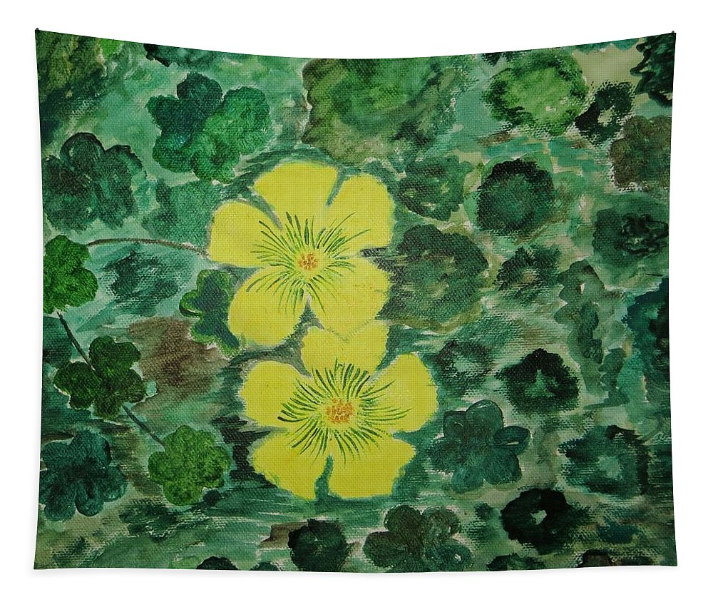 Yellow Flowersamidst Green Leaves Tapestry featuring the painting Yellow Magic by Sonali Gangane
