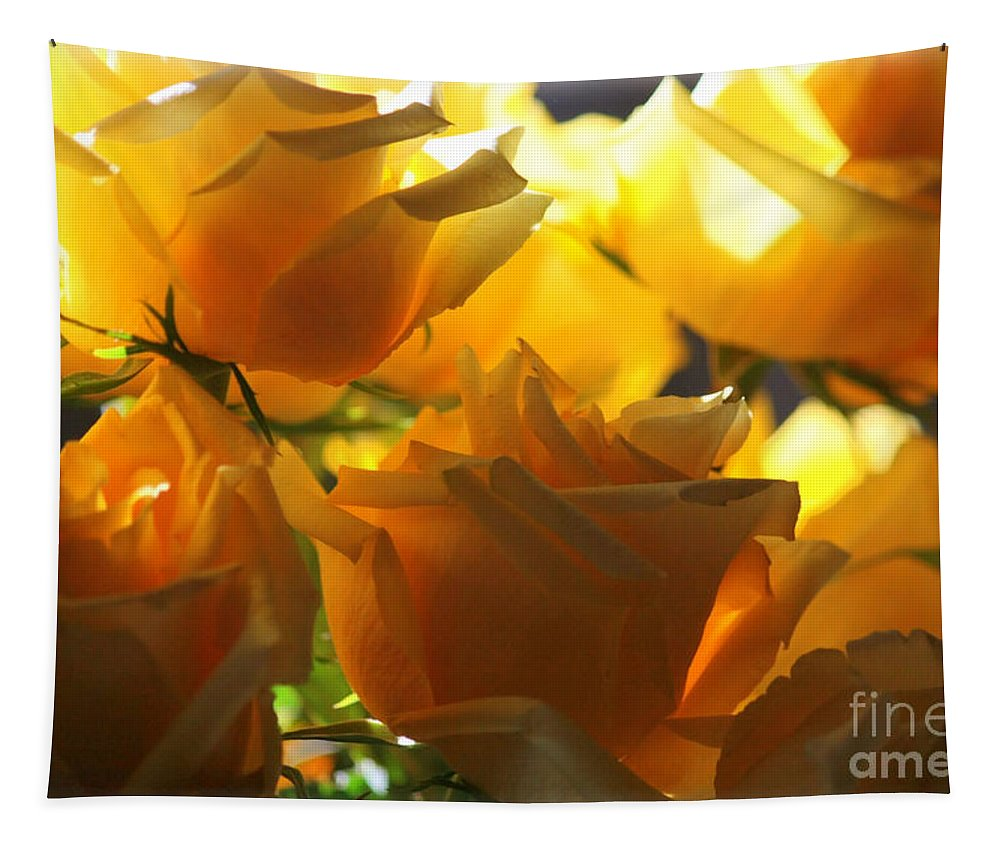 Yellow Roses Tapestry featuring the photograph Yellow Roses And Light by Carol Groenen