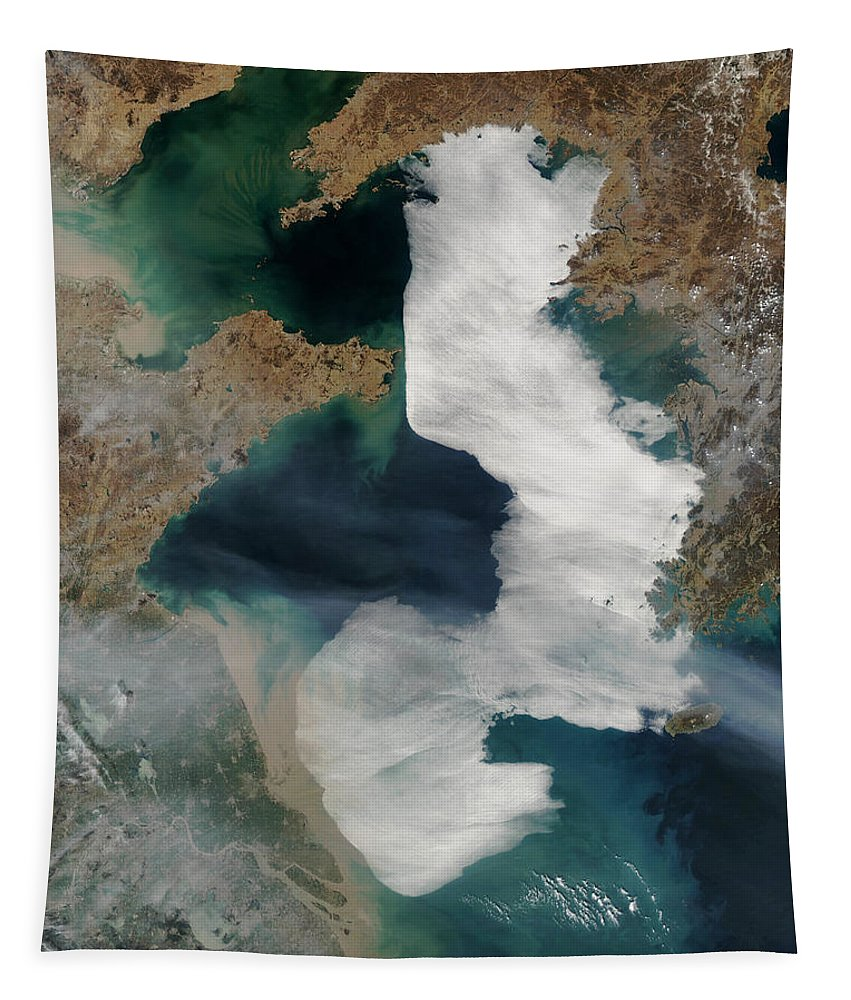 Abstract Tapestry featuring the photograph Yellow Sea - Satellite View by World Art Prints And Designs