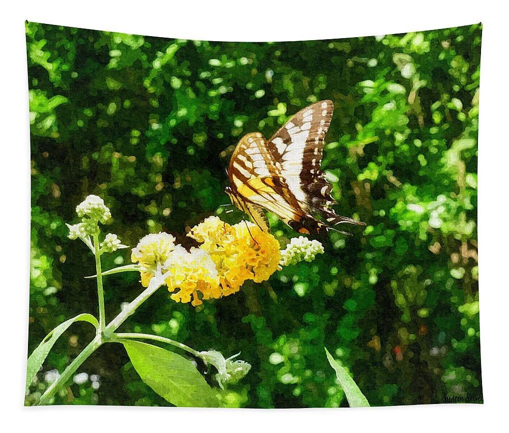 Butterfly Tapestry featuring the photograph Yellow Swallowtail On Yellow Lantana by Susan Savad