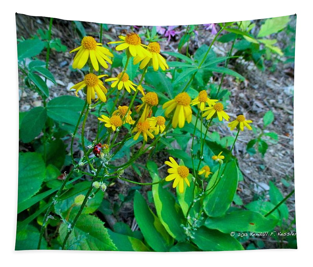 Yellow Tapestry featuring the photograph Yellow Tilt by Kendall Kessler