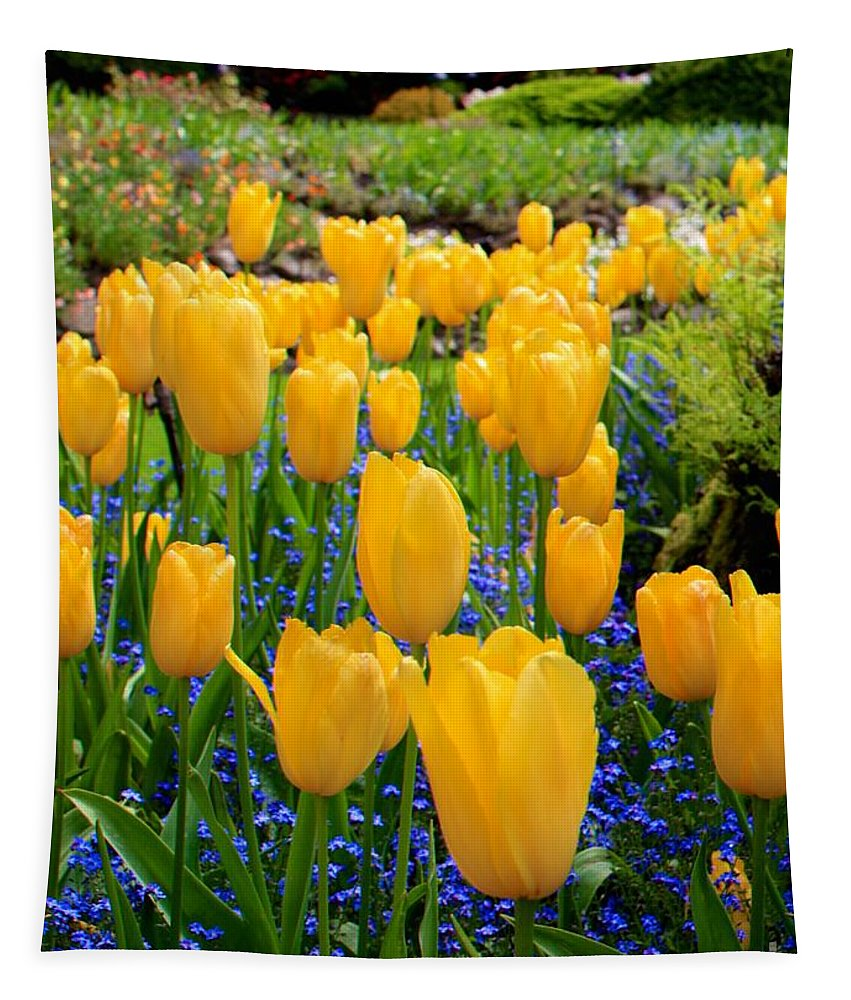 Yellow Tulips Tapestry featuring the photograph Yellow Tulips by Carol Groenen
