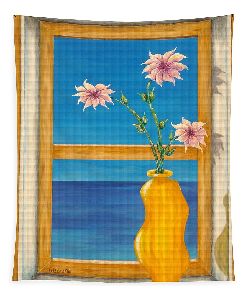 Pamela Allegretto Tapestry featuring the painting Yellow Vase With Sea View by Pamela Allegretto
