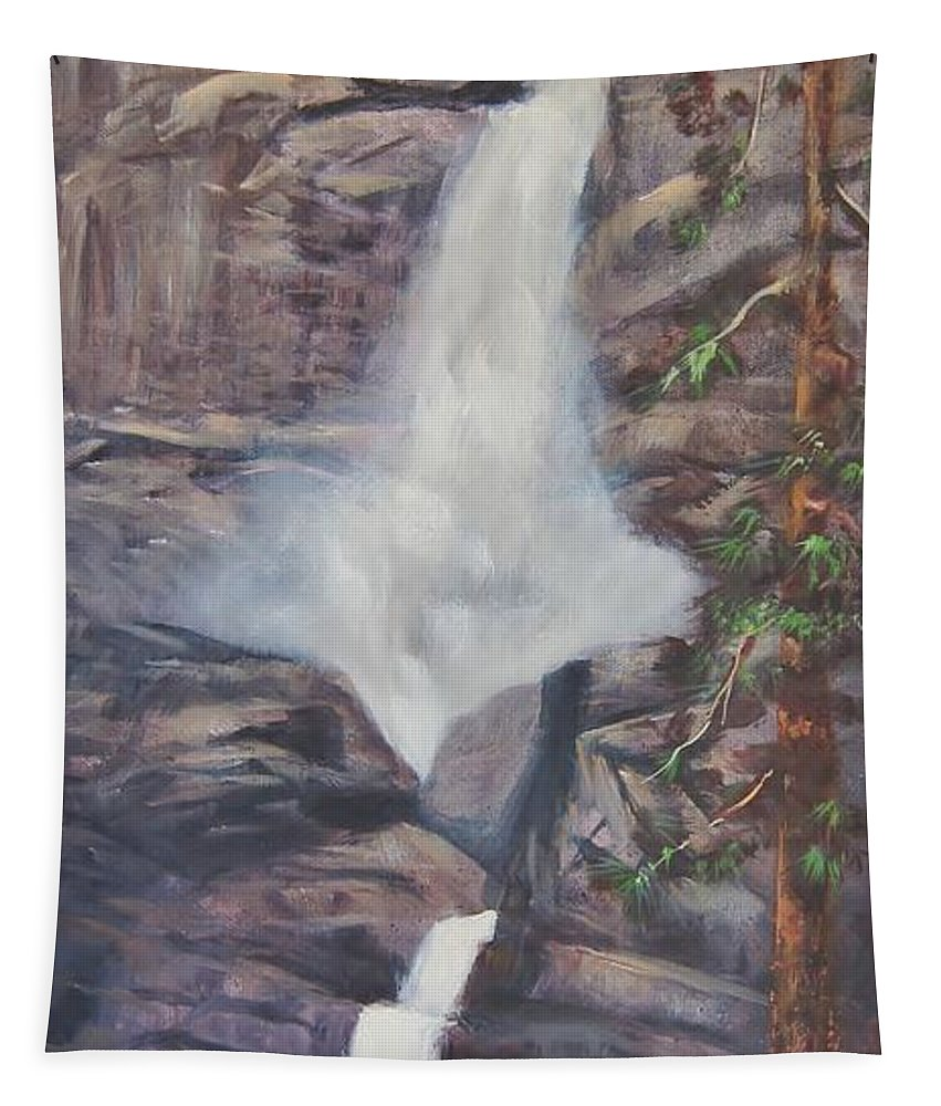 Waterfalls Tapestry featuring the painting Yosemite Falls by Sherry Strong