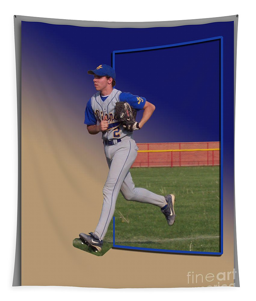 Sports Tapestry featuring the photograph Young Baseball Athlete by Thomas Woolworth