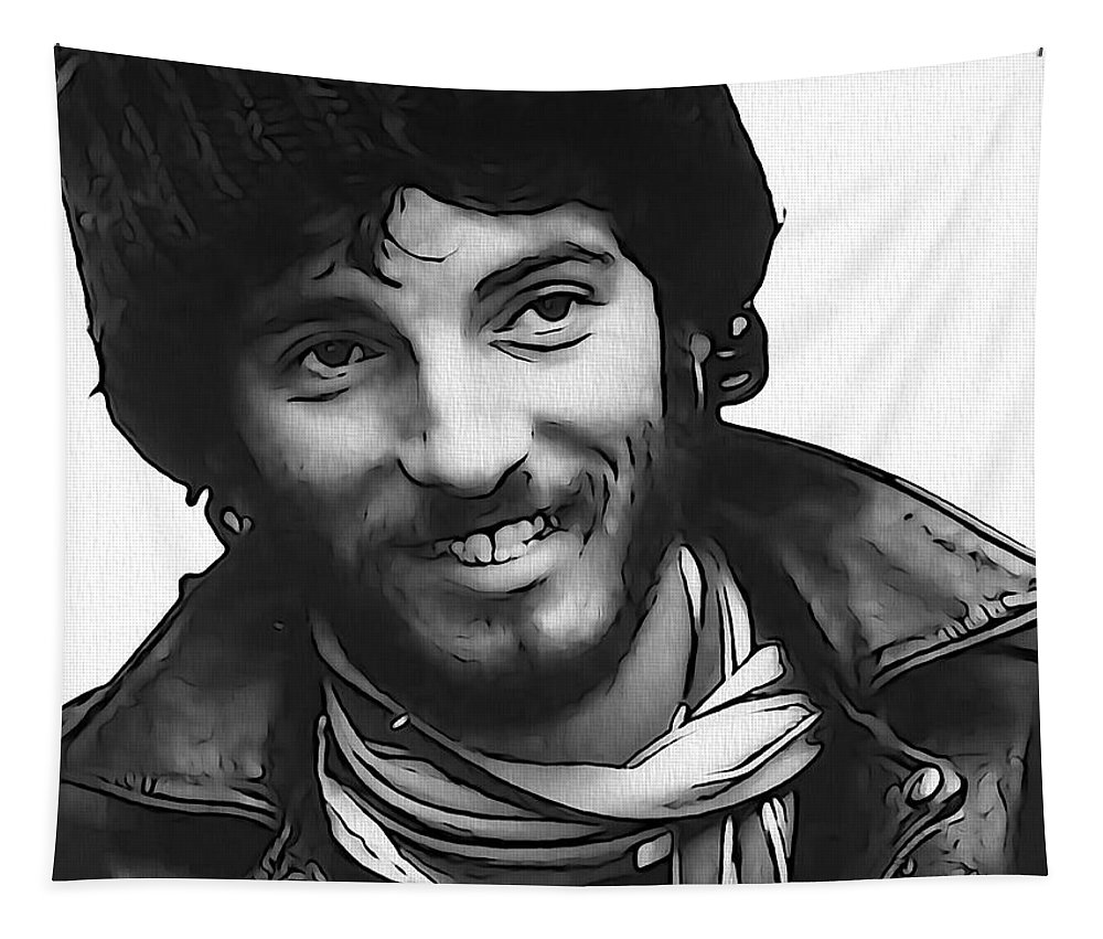 Young Bruce Springsteen Tapestry featuring the digital art Young Bruce Springsteen by Dan Sproul
