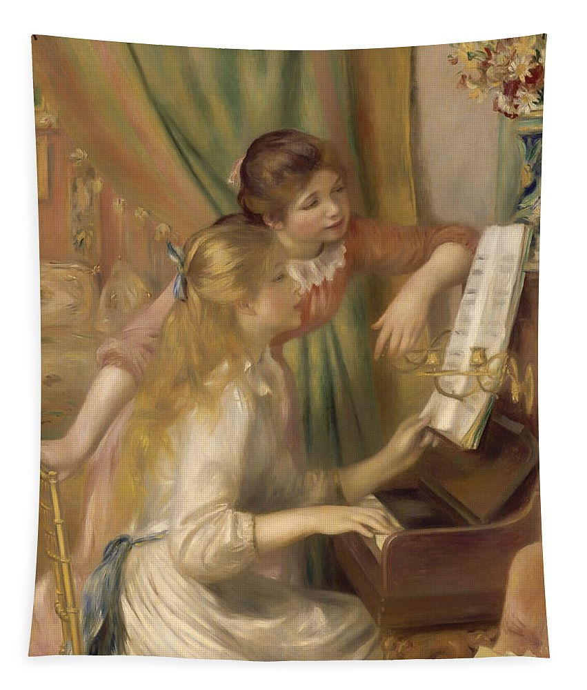 Painting Tapestry featuring the painting Young Girls At The Piano by Mountain Dreams