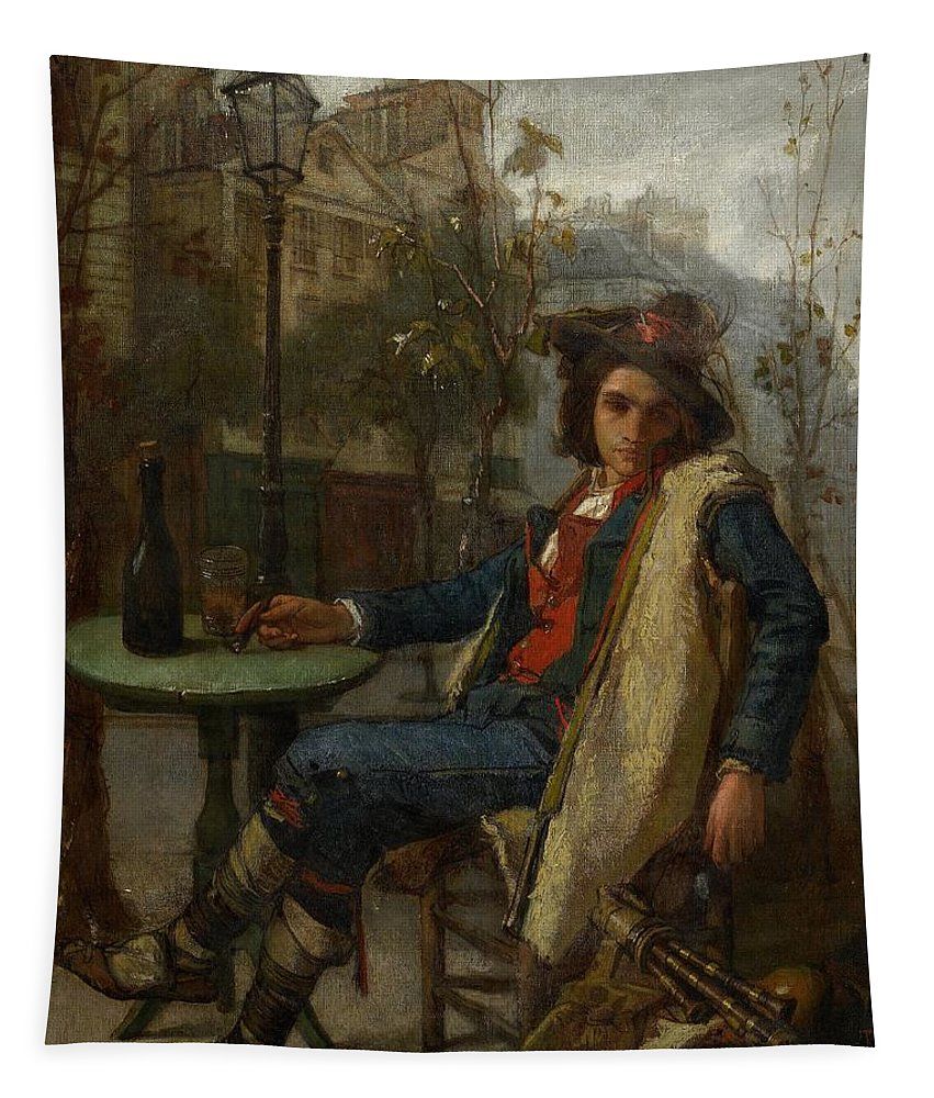 Young Italian Street Musician Tapestry featuring the painting Young Italian Street Musician by Thomas Couture