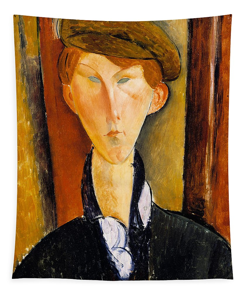 Modigliani Tapestry featuring the painting Young Man With Cap by Amedeo Modigliani