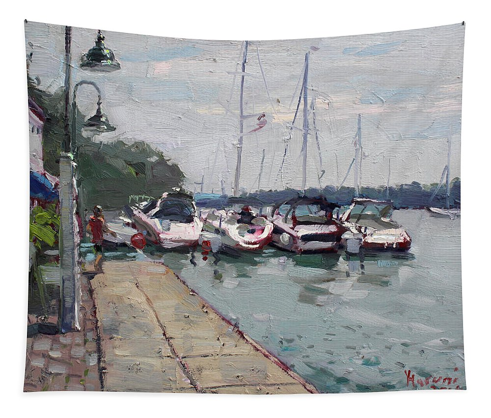 Youngstown Yachts Tapestry featuring the painting Youngstown Yachts by Ylli Haruni