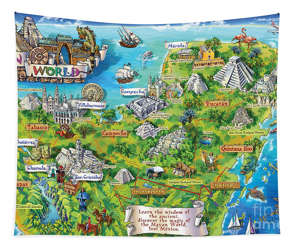 Yucatan Map Illustration Tapestry for Sale by Maria Rabinky