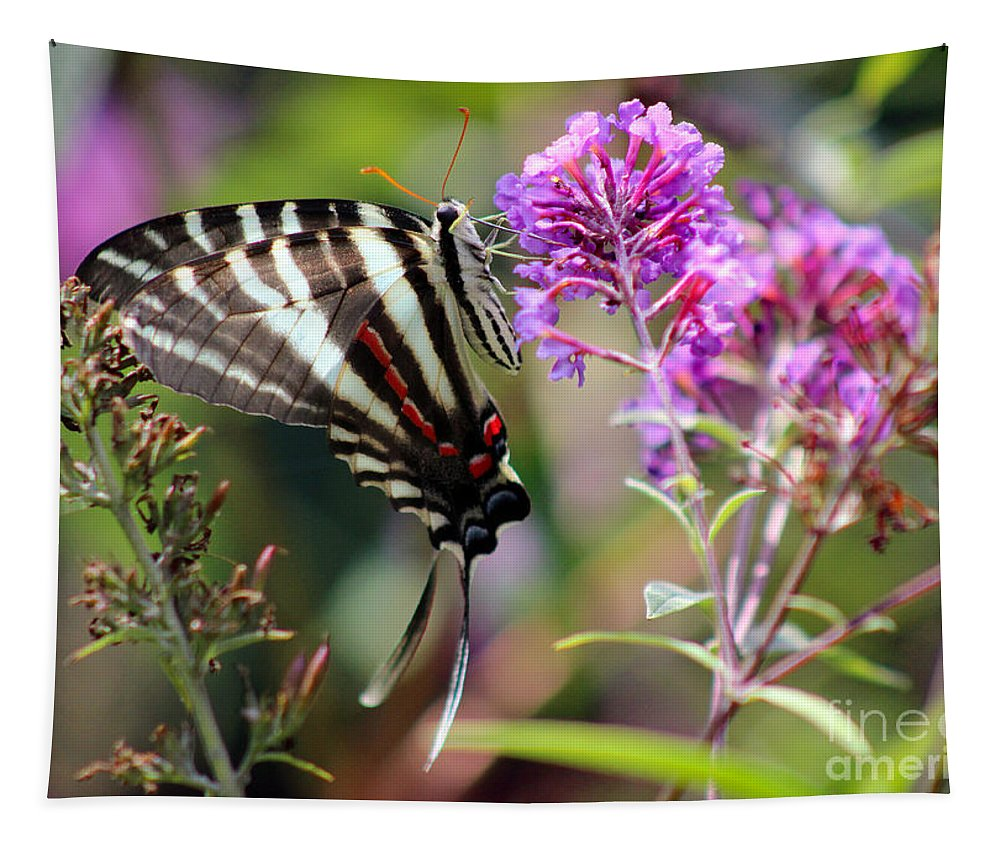 Zebra Tapestry featuring the photograph Zebra Swallowtail Butterfly At Butterfly Bush by Karen Adams
