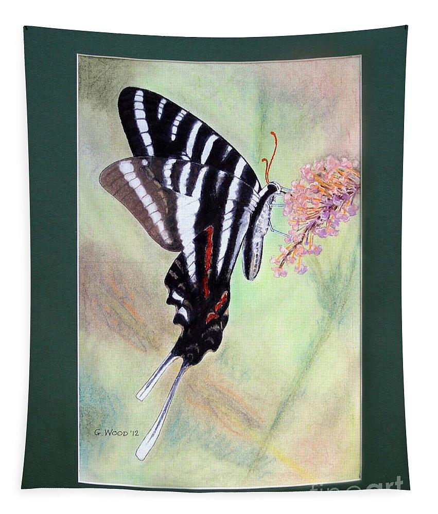 Zebra Swallowtail Butterfly Tapestry featuring the photograph Zebra Swallowtail Butterfly By George Wood by Karen Adams
