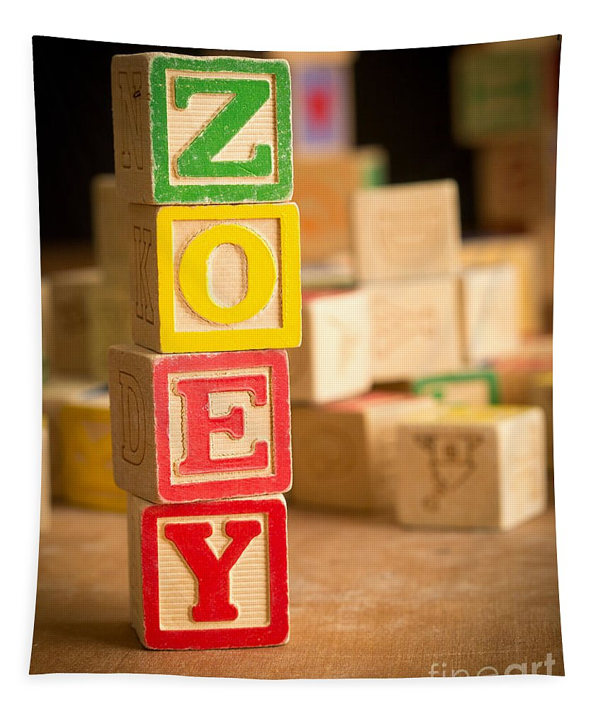 Abcs Tapestry featuring the photograph Zoey - Alphabet Blocks by Edward Fielding