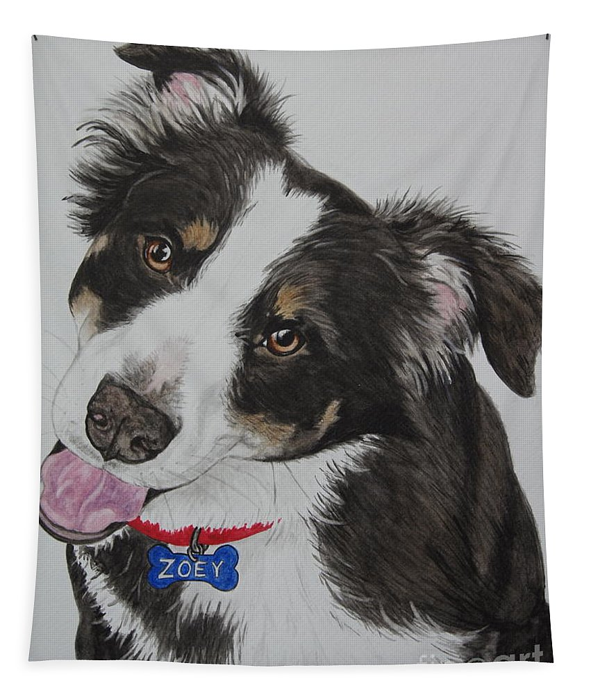 Dog Tapestry featuring the painting Zoey by Megan Cohen