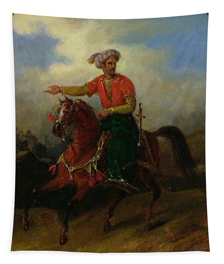 Ottoman Tapestry featuring the painting An Ottoman On Horseback by Charles Bellier