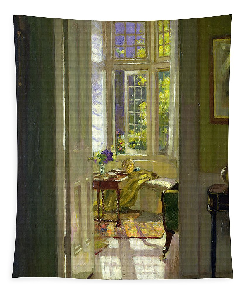 Window; Door; Sunlight; Shadow Tapestry featuring the painting Interior Morning by Patrick Williams Adam