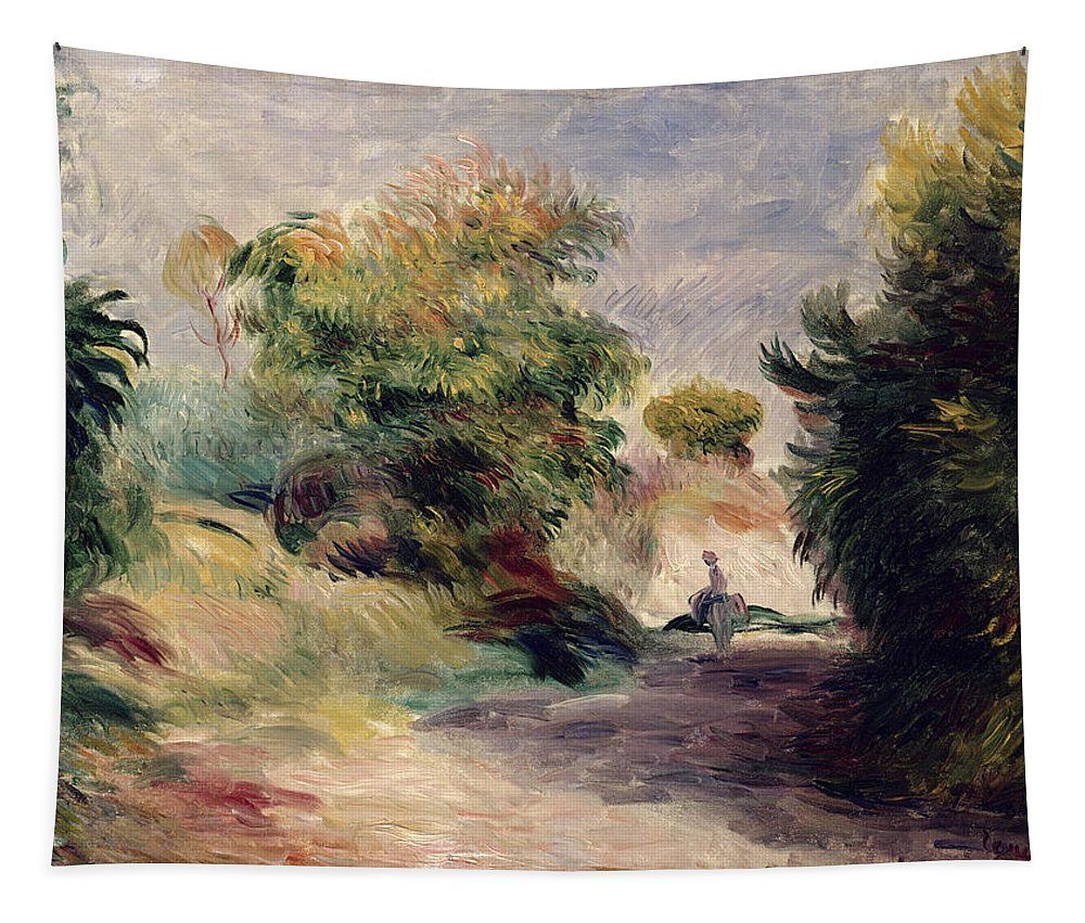 Provence; Impressionist; Path Tapestry featuring the painting Landscape Near Cagnes by Pierre Auguste Renoir