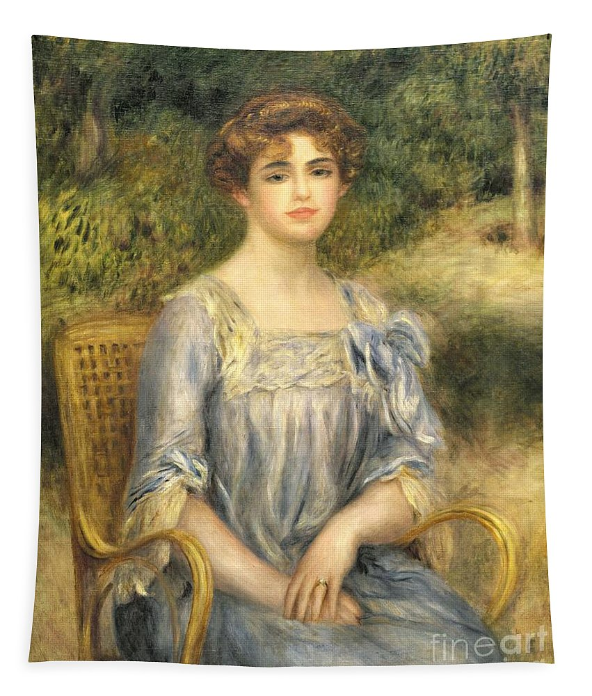 Nee Suzanne Adler; Female; Seated; Bun; Outside; Wicker Chair; Portrait Tapestry featuring the painting Madame Gaston Bernheim De Villers by Pierre Auguste Renoir