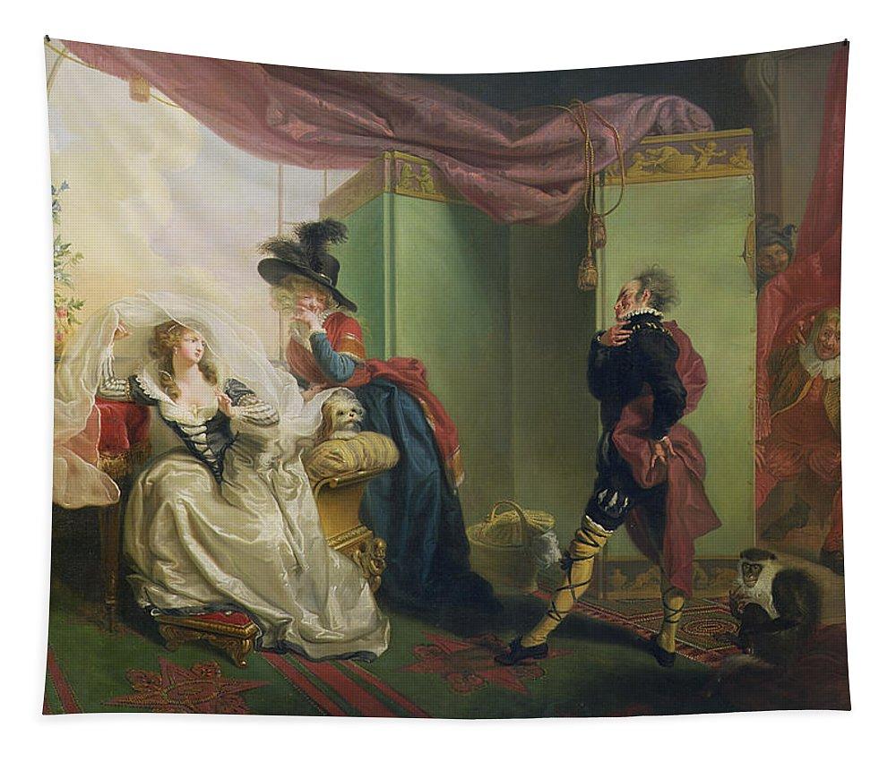 Malvolio Tapestry featuring the painting Malvolio Before Olivia - From 'twelfth Night' by Johann Heinrich Ramberg